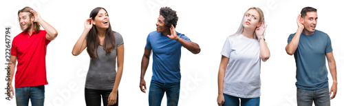 Photo  Composition of african american, hispanic and caucasian group of people over isolated white background smiling with hand over ear listening an hearing to rumor or gossip