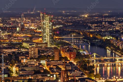 Poster Stad gebouw Blick vom Main Tower auf die Europäische Zentralbank in Frankfurt am Main