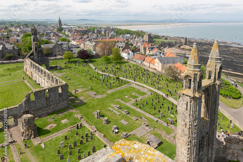 Aerial view Ruins and graveyard Cathedral of St Andrews, Scotland Wallpaper Mural