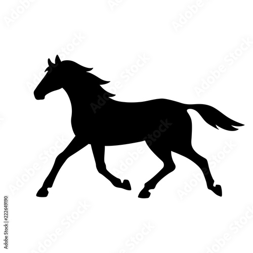 Fotografía Isolated black silhouette of running, trotting horse on white background
