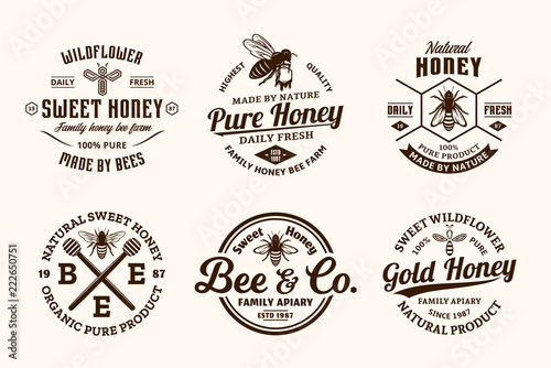 Vector honey vintage logo Fototapeta