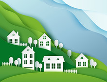 Urban Countryside Landscape Village With Cute Paper Houses And Trees. Pastel Colored Paper Cut Background