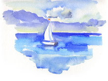 Sailing Yacht In Sea In Watercolor Style