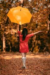Fototapeta Happy Woman In Autumn Park