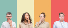 Collage Of A Group Of People Isolated Over Colorful Background Bored Yawning Tired Covering Mouth With Hand. Restless And Sleepiness.