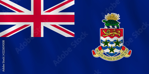 Canvas Cayman Islands flag with waving effect, official proportion.