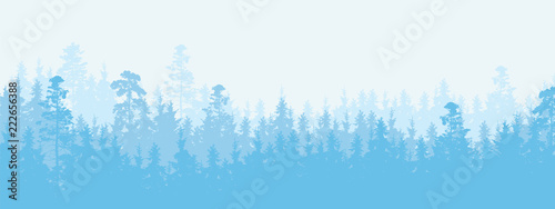 Foto auf AluDibond Blau Wide illustration of a coniferous forest in winter weather, more layers and space for text
