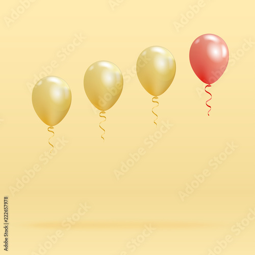 Fotografía  Realistic glossy helium balloons floating on blue background
