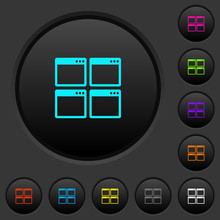 Mosaic Window View Mode Dark Push Buttons With Color Icons