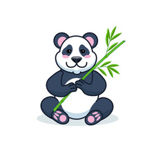 Cute Cartoon Giant Panda Is Sitting On The Ground, With Branch Of Bamboo Leaves In Hand. Vector Illustration.
