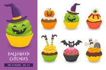 Halloween Cupcake Set. Cute Sc...