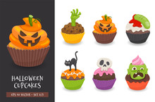 Halloween Cupcake Set. Cute Scary Desserts, Perfect For Party Invitations. Vector Illustration Isolated On A White Background. Set 2 Of 3.