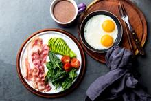 Ketogenic Diet Breakfast. Frie...