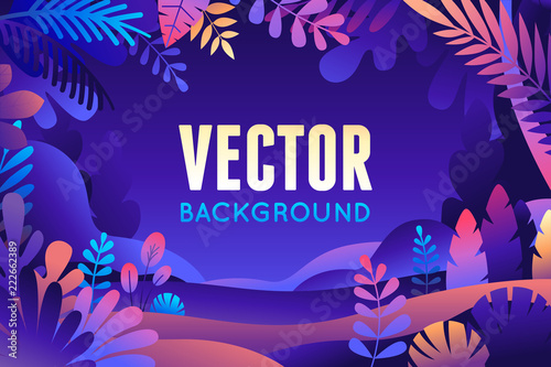 Fotobehang Violet Vector illustration in trendy flat style and bright vibrant gradient colors - background with copy space for text - plants, leaves, trees