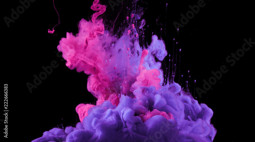 Stickers pour porte Lilac Acrylic colors in water. Ink blot.