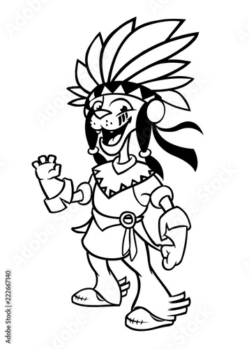 Cartoon native american indian character. Illustration ...
