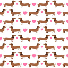 Dachshunds With Hearts Seamles...