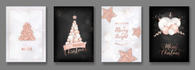 Vector Collection Of Elegant Merry Christmas Cards With Shining Rose Gold Glitter Christmas Balls Star Christmas Tree Flyer And New Year Brochure 2019