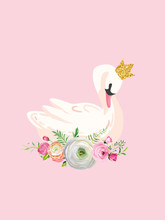 Illustration Of Beautiful Swan With Place For Baby Name For Poster Print, Baby Greetings, Invitation, Children Store Flyer, Brochure, Book Cover In Vector