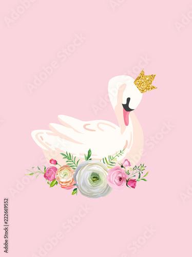 Ilustracja piękny łabędź z miejscem na imię dziecka do druku plakatu, pozdrowienia dla dzieci, zaproszenie, ulotka sklepu dla dzieci, broszura, okładka książki w wektorze