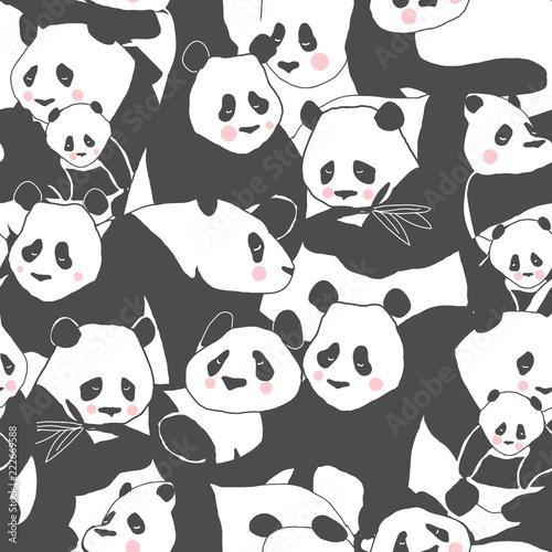 Fototapeta premium Słodki Miś Panda ilustracja wzór do druku tekstyliów, plakatu, okładki, dzieci i pokoju dziecięcego, tapety w wektorze