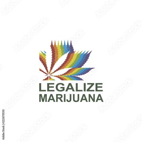 Obraz na plátně illustration of marijuana or cannabis leaf isolated on white background