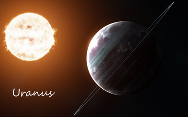 Uranus against background of Sun. Solar system. Abstract science fiction. Elements of the image are furnished by NASA