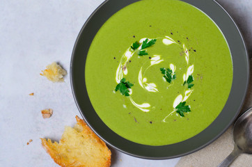 Spinach Soup in a Bowl, Top View, Vegetarian Food, Healthy Eating