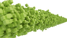 Abstract Line Of Green Cubes On White Background. 3d Rendering.