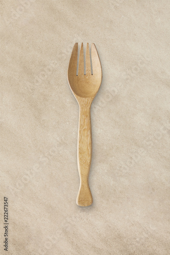 Fotografía  Kitchenware isolate on brown paper texture background