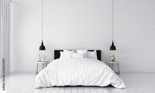 Fotografia  white bedroom interior for mockup, 3D rendering