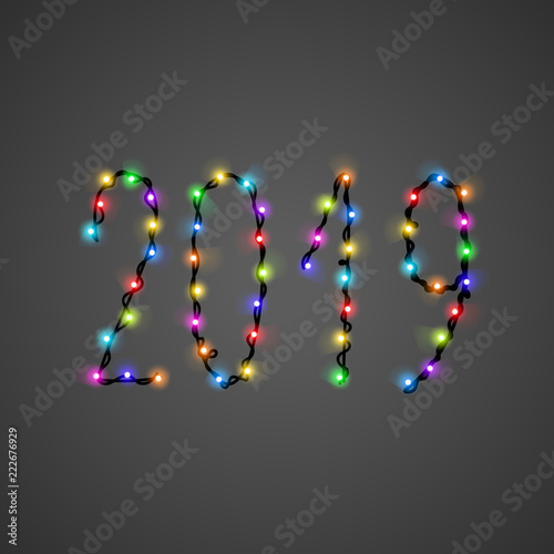 vector 2019 text from bright shiny colorful christmas lights glowing garland digits collection for holiday