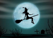 Halloween Background. Young Wi...