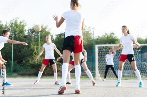 Female handball team playing
