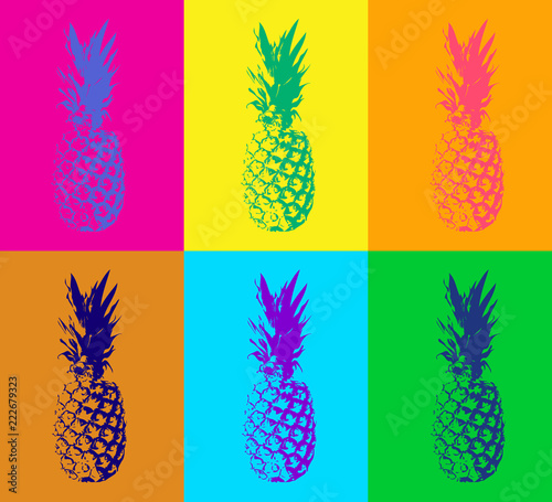 Fotobehang Pop Art Seamless pattern with pineapple. Modern duotone background in pop art style. Color vector illustration