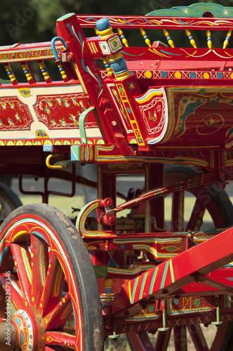 Decorated Gypsy horse wagon Canvas Print