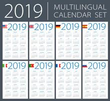 Calendar 2019 Set - English, American, Spanish, German, Portuguese, French, Italian, Russian, Dutch