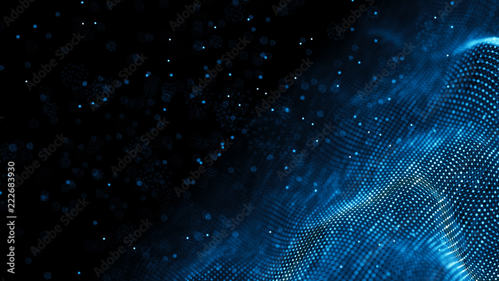 Fototapeta Data technology background. Abstract background. Connecting dots and lines on dark background. 3D rendering. 4k.