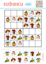 Sudoku For Children, Education Game. Set Of Christmas Items
