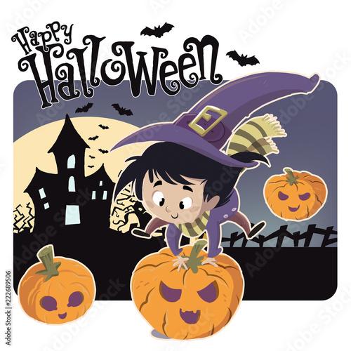 Fotografie, Obraz  niña bruja saltado calabazas de halloween