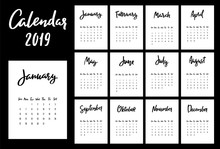 Calendar 2019 Vector Design Template. Week Starts From Sunday. Set Of 12 Months Lettering Inscription.