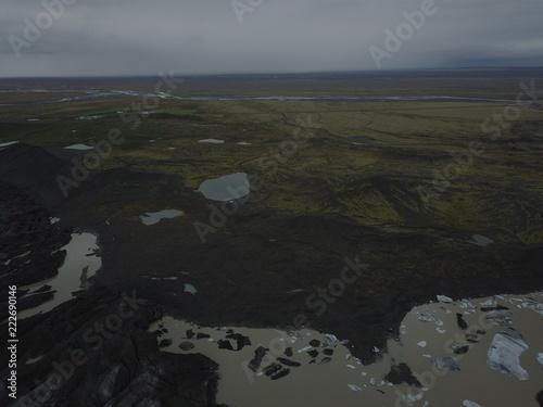 Fotobehang Grijze traf. Island aus der Luft