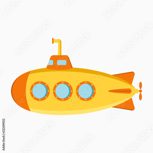 Photo  Submarine. Underwater boat with periscope. Vector illustration.