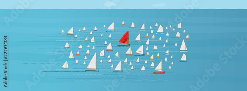 Go with the Flow, Boat with Red Sail in the Middle of a crowded Fleet of Small S Canvas Print
