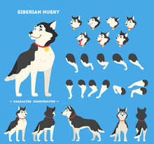 Cute Siberian Husky Dog Animat...