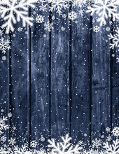 Blue Wooden Christmas Background With Blurred White Snowflakes, Vector Illustration
