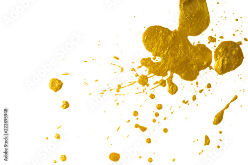 Cadres-photo bureau Forme drops of gold paint. blot with a splash of metallic shiny color.