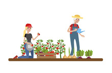 Happy Female Farmers Watering Patches With Vegetables