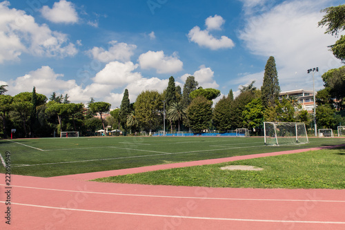 Obraz Football field wide shot in green park - fototapety do salonu