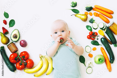 Obraz Healthy baby child nutrition, food background, top view. - fototapety do salonu